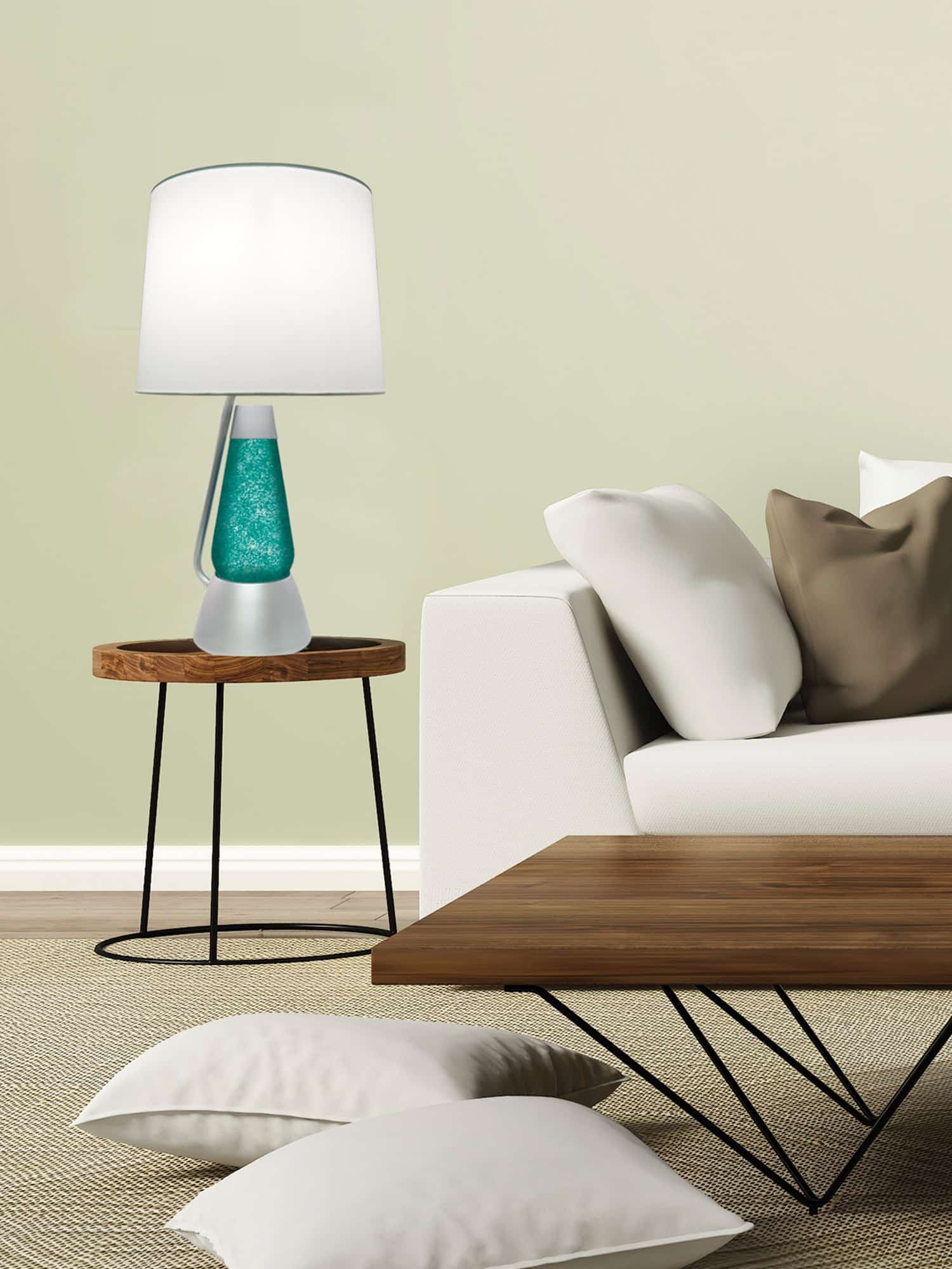 3116 Silver Glitter With Teal Liquid Motion Lamp Lava 174 Lamp